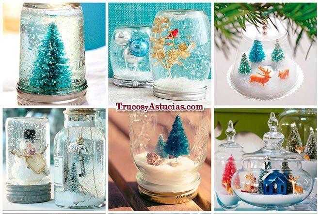 bolas de nieve caseras hechas con manualidades para decorar en navidad