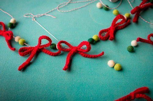 guirnalda de navidad con lana