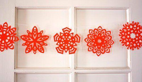 guirnalda roja de papel recortado - Guirnalda De Navidad