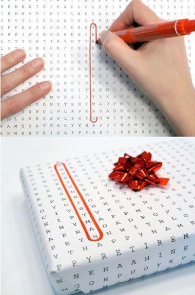 papel de regalo original simulando una sopa de letras