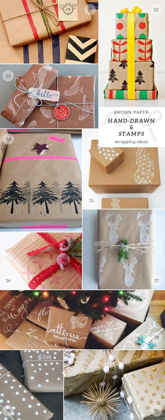 papel para envolver regalos con estampados hechos a mano