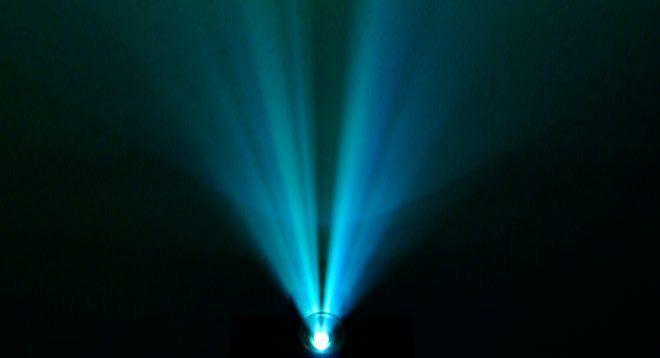 foco del proyector, vista del halo de luz proyectado