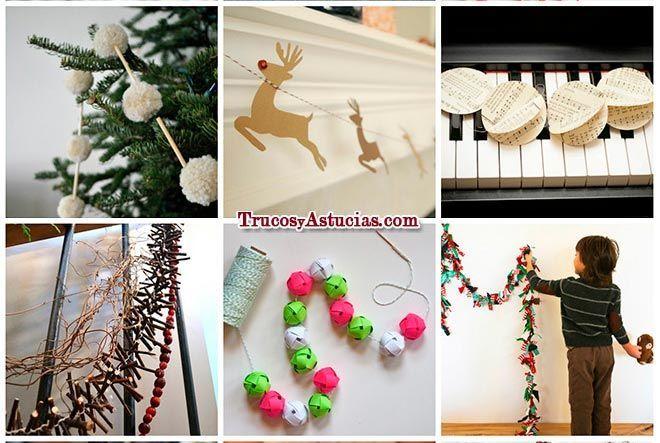 20 guirnaldas de navidad que puedes hacer para decorar trucos y astucias - Manualidades recicladas para decorar ...