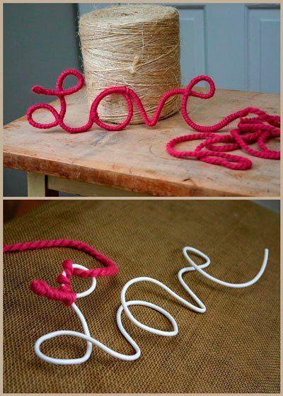 manualidad romántica para san valentín con hilo