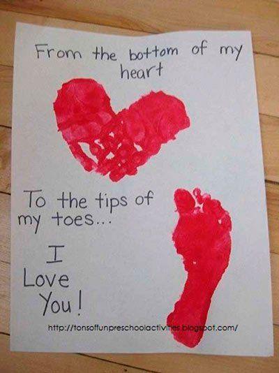tarjeta de San Valentín original  con huellas en pintura