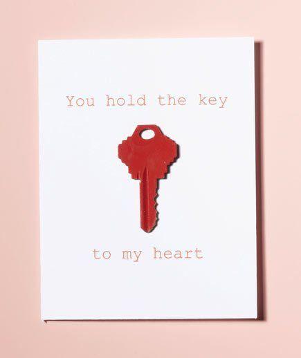 tarjeta de San Valentín original  con una llave pintada