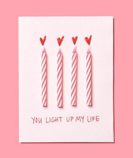 tarjeta de San Valentín original  con velas