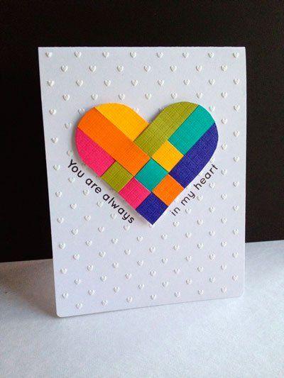 tarjeta de San Valentín original con corazón de colores