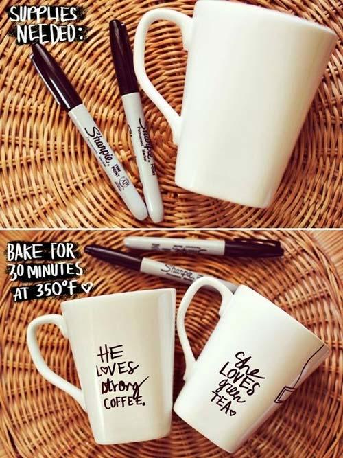 manualidad romántica para san valentín con una taza