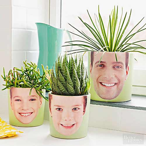 macetas personalizadas con las caras de sus hijos, ideal para el dia del padre