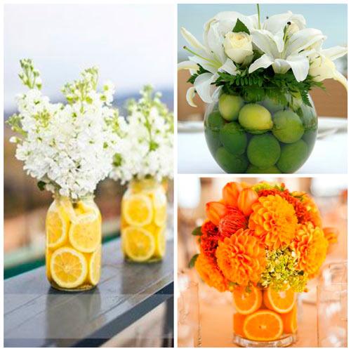 ideas de centros de mesa elegantes, floral diy con frutas