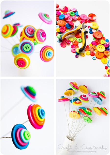 manualidad para hacer flores originales y divertidas con botones para decorar en casa