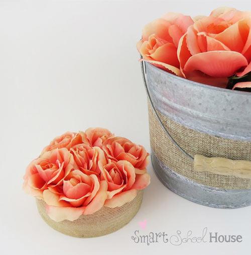 manualidad para hacer un centro de mesa con rosas