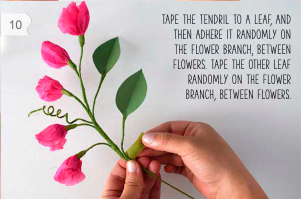 flores del guisante hechas con papel de seda (tissue paper) para decorar en casa