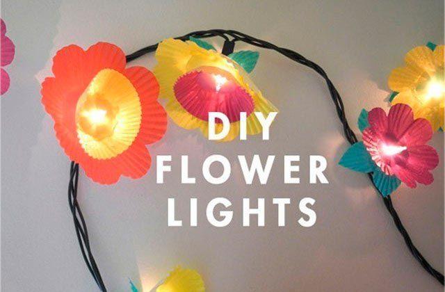guirnaldas con flores y luces