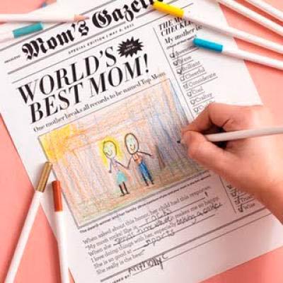 felicitación del día de la madre simulando un periódico