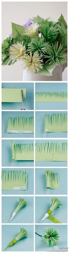 ramo de flores hechas de papel con instrucciones y tutorial