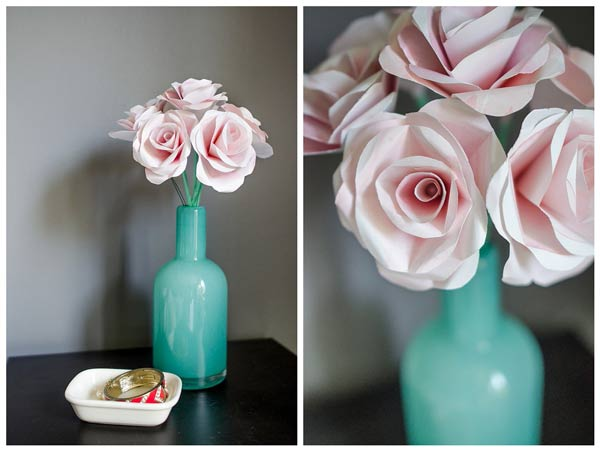 ramo de rosas rosas hechas de papel con instrucciones y tutorial