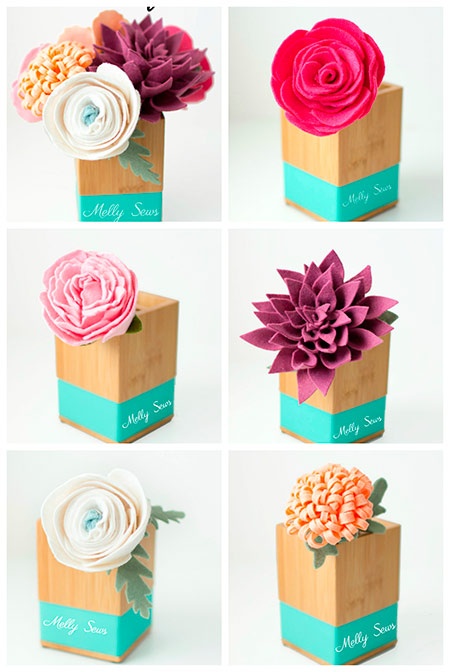 flores de fieltro para decorar hechas con manualidades: rosa,dalia, crisálida, peonia, ranunculus