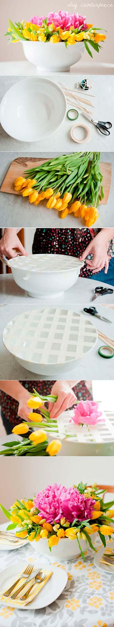 tutorial de manualidad para hacer un centro de mesa con flores
