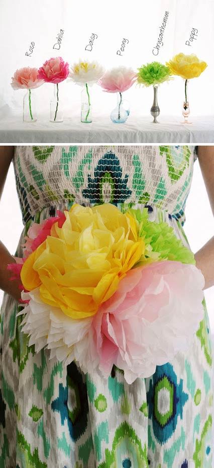 flores varias (margaritas, amapolas, peonias, rosas) con papel de seda