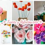 44 Flores de papel y fieltro para hacer con Manualidades
