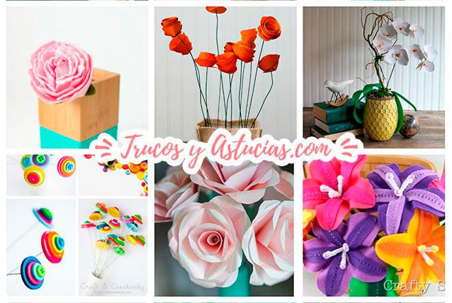 flores de papel, fieltro, y otros materiales hechas con manualidades para decorar