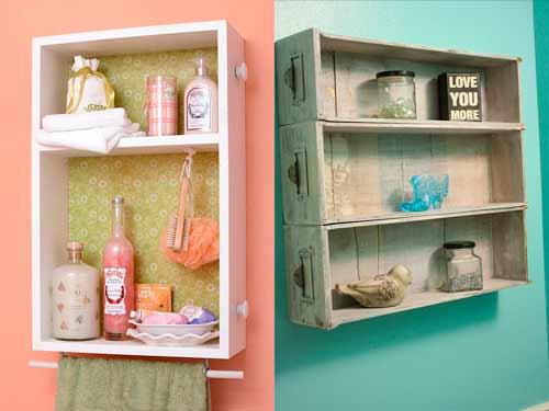 idea para decorar el baño de forma original con estanterías hechas con cajones