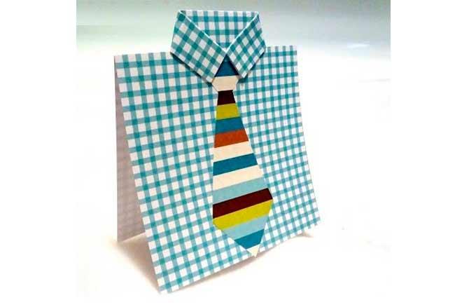 tarjeta de felicitación para el día del padre con forma de camisa y corbata