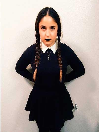 Disfraz casero de halloween para mujer, miercoles familia adams