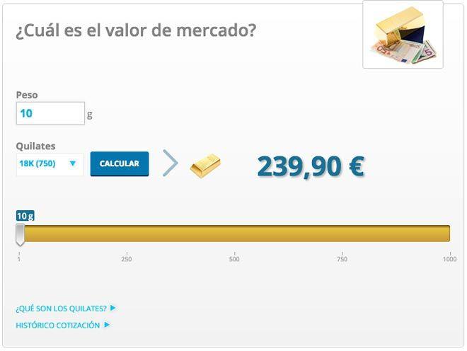 calculadora del precio del oro segun quilates