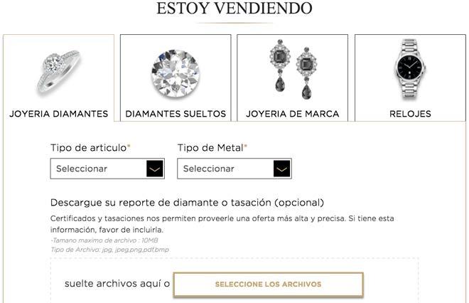 formulario de web para vender joyas con diamantes
