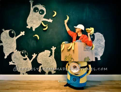 disfraz hecho a mano de minion llevando una caja contigo