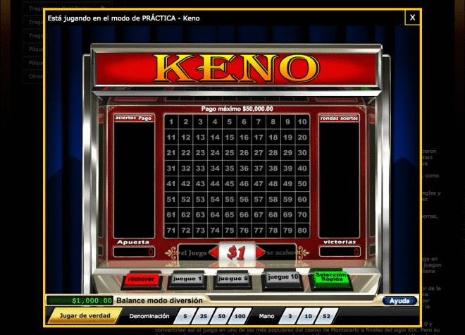 captura de pantalla del juego de azar keno de casino midas