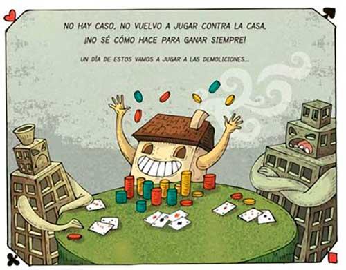 ilustracion comic casa banco jugando a poker