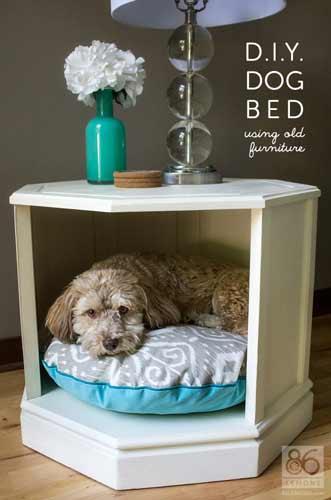 cómo hacer una cama para perro original con un mueble