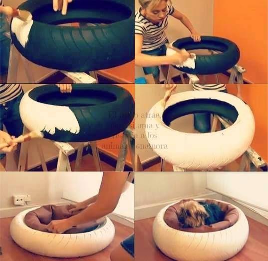 cómo hacer una cama para perro con un pneumático