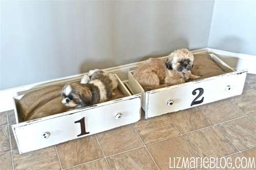 cómo hacer camas para perros con cajones de una cómoda