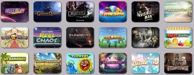 varios juegos de tragamonedas de un casino online