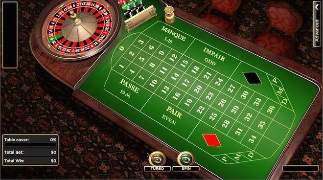 mesa de juego de una ruleta francesa online