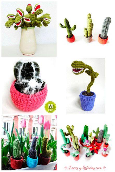 idea original para regalar en el día de la madre: cactus de ganchillo hechos a mano