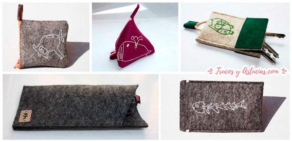 regalo original para el día de la madre: monedero y fundas bordadas con dibujo infantil