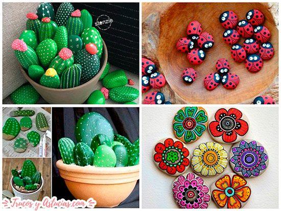 piedras pintadas como cactus, flores e insectos ideal para regalo del dia de la madre