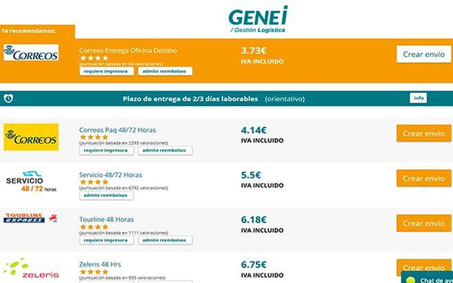 captura de pantalla del comparador de envios genei