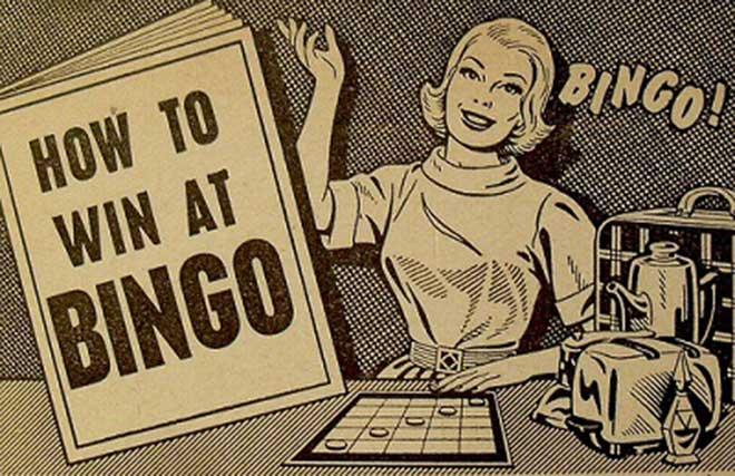 como ganar al bingo ilustración retro