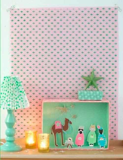 pesebre navideño hecho con papel