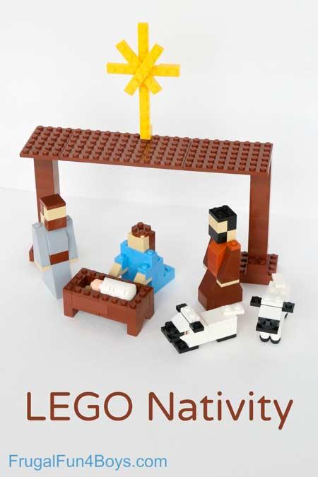 Portal de belén de navidad original con piezas de lego