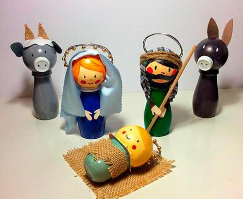 belén de navidad hecho con manualidades y reciclando