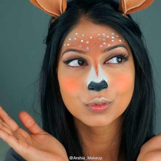 maquillaje para disfraz de carnaval inspirado en el filtro de ciervo de snapchat