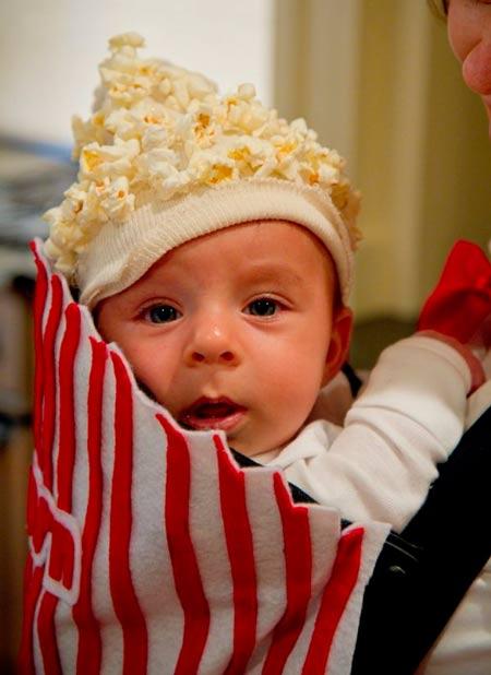 disfraz casero facil para bebé, palomitas